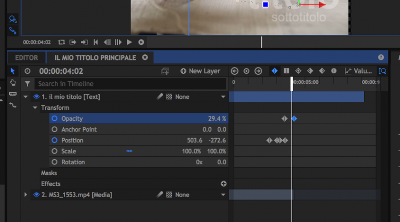 Hitfilm express. Tutorial in italiano 04. I Keyframes nell'audio e nel motion graphic.